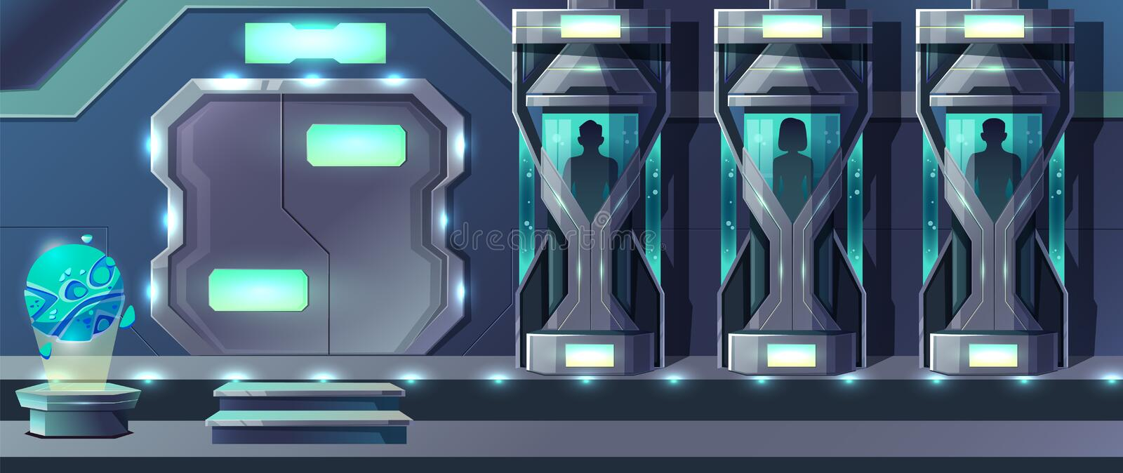 Human cloning laboratory cartoon vector concept. Human cloning cartoon vector with female and male human beings growing in glass capsules in laboratory royalty free illustration