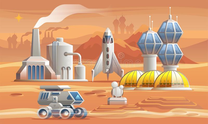Human colonizators on Mars. Rover drives across the red planet near factory, greenhouse and spaceship vector illustration