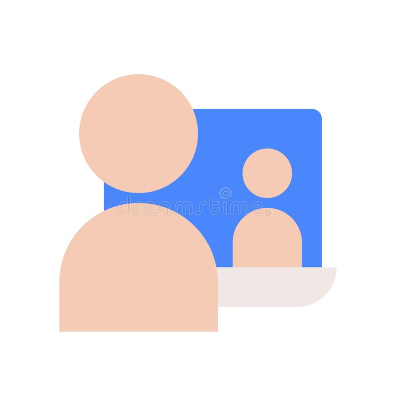human communication with people on laptop screen, webinar or e-learning concept icon stock illustration
