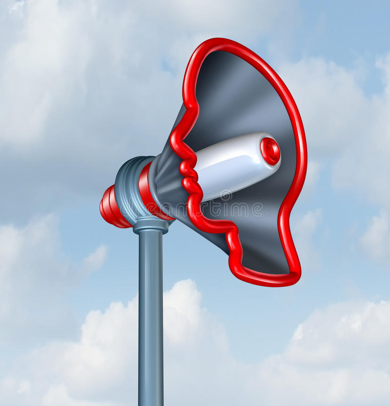 Human Communication. And voicing an opinion with a megaphone or bullhorn in the shape of a human head as a concept of sending an important marketing message to stock illustration
