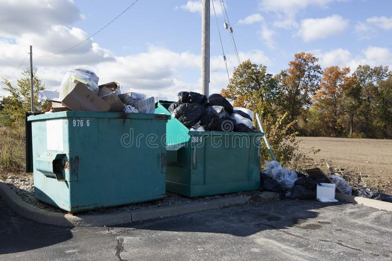 Human Consumption Waste Bins Garbage Collection Pile Containers. Human Consumption Waste Bins Garbage Collection Piled in Containers stock photos