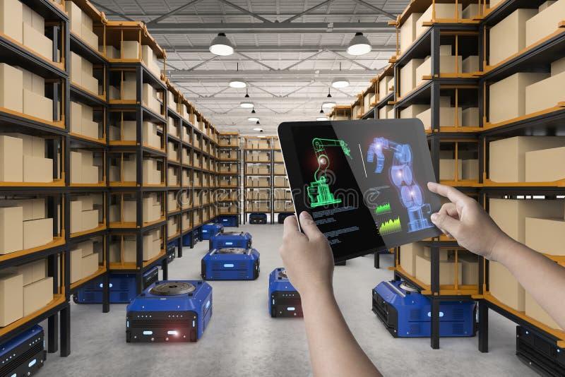 Human control 3d rendering robot. Human control 3d rendering warehouse robot working in factory stock photo