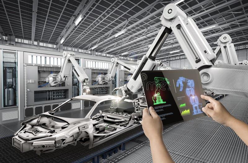 Human control 3d rendering robot royalty free stock photos
