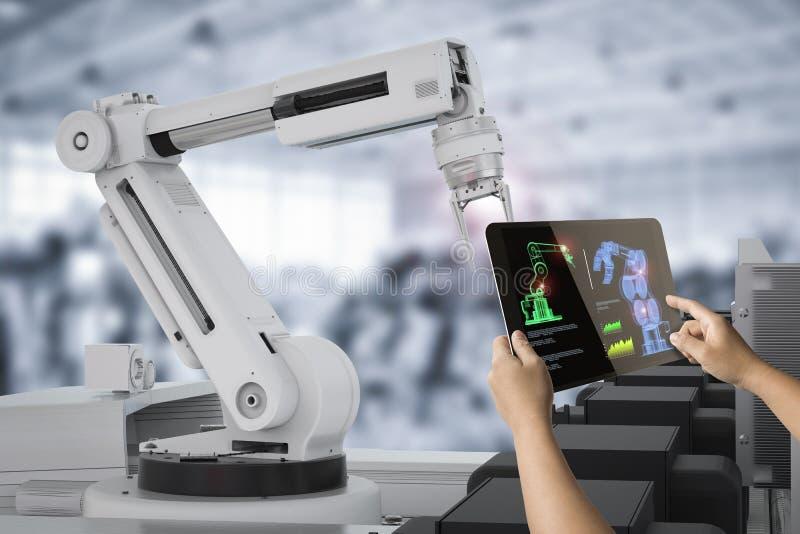 Human control 3d rendering robot. Human control 3d rendering warehouse robot working in factory stock photos