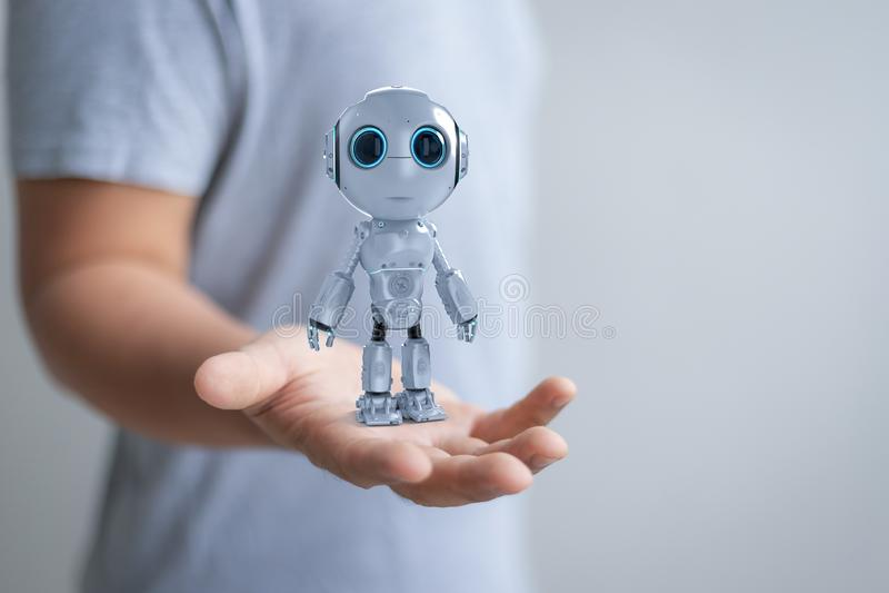 Human control robot royalty free stock photo