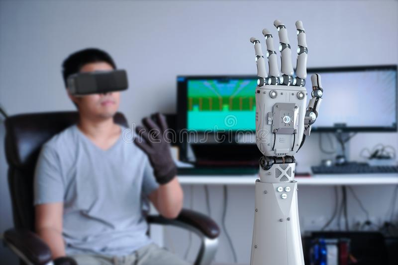 Human control robot. Human wearing vr headset and control 3d rendering robot stock images