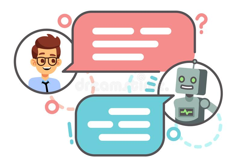 Human conversation with robot on smartphone. Chatting with bot, chatbot vector concept vector illustration