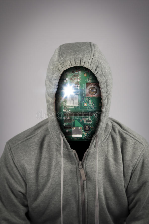 Human Cyborg Robot. With anonymous circuit board face stock photos