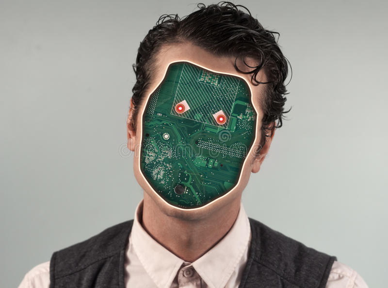 Human Cyborg Robot. With anonymous circuit board face royalty free stock photos