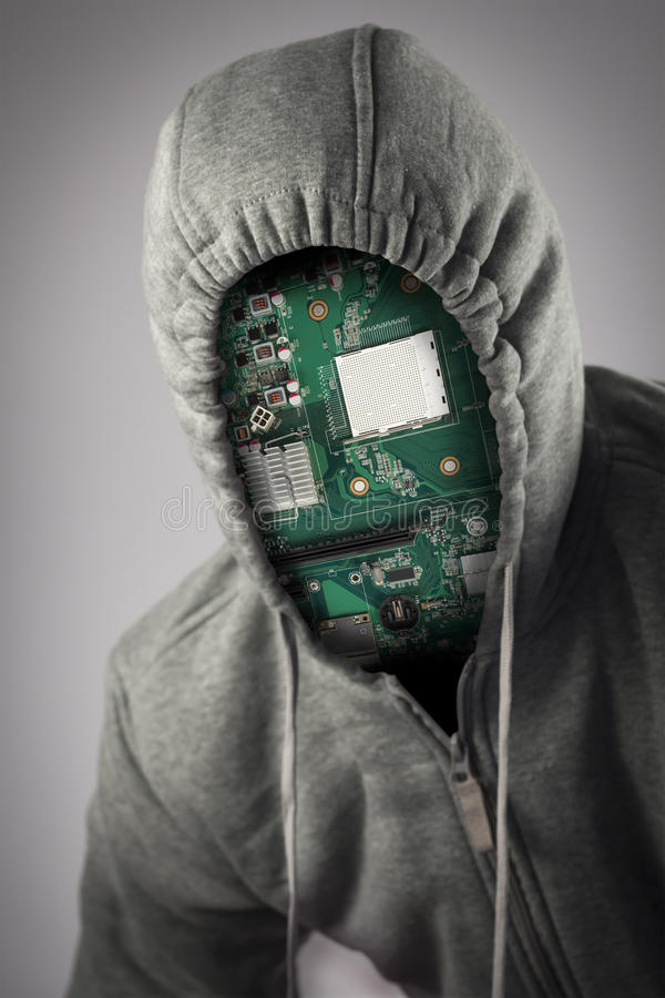 Human Cyborg Robot. With anonymous circuit board face stock photo