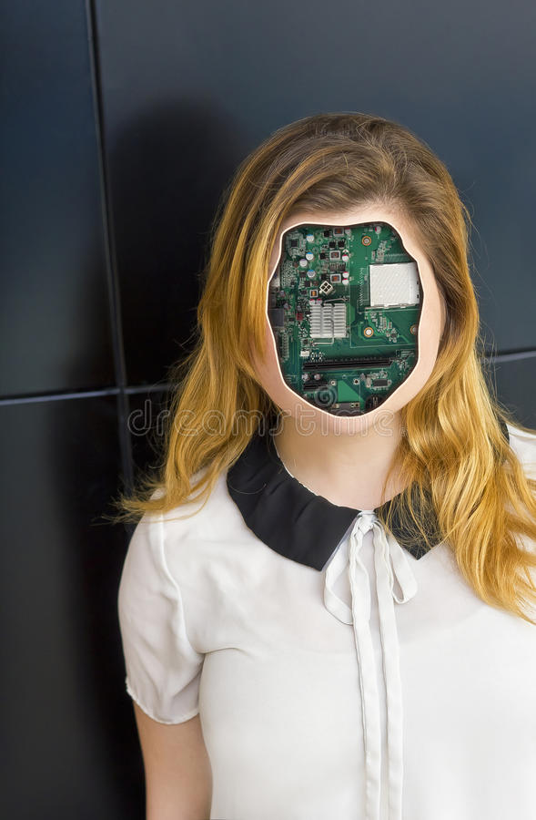 Human Cyborg Robot. With anonymous circuit board face royalty free stock photo