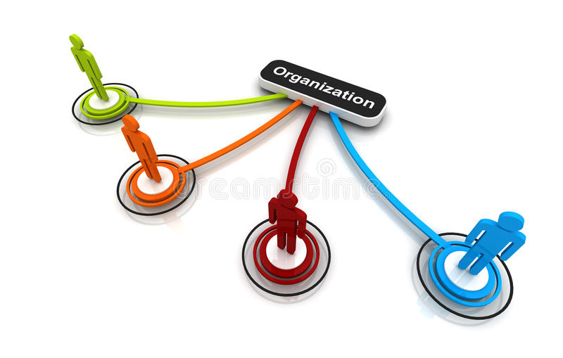 Human 3D model Connection Link Organization chart stock illustration