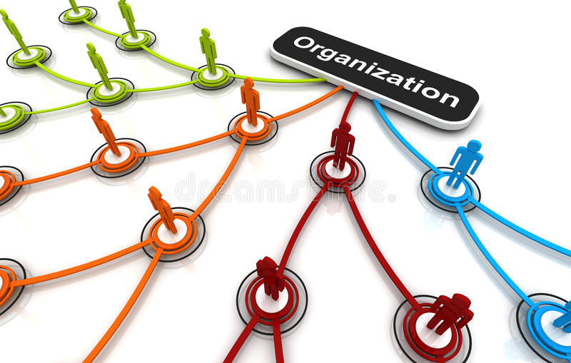 Human 3D model Connection Link Organization chart royalty free illustration