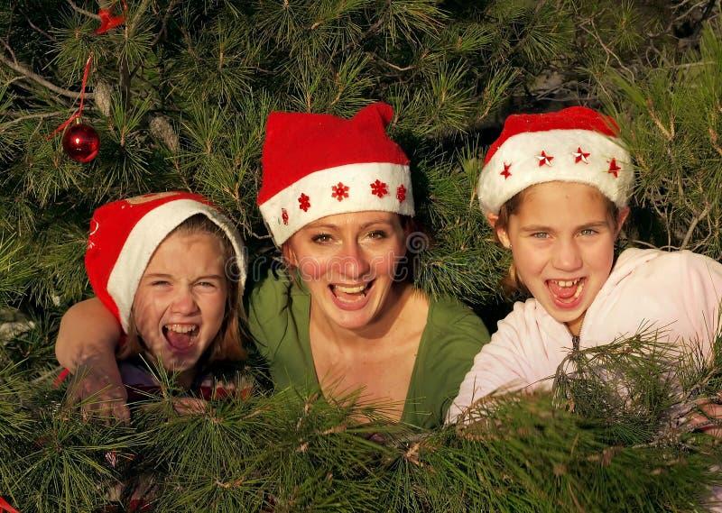Human decoration on christmass tree stock image