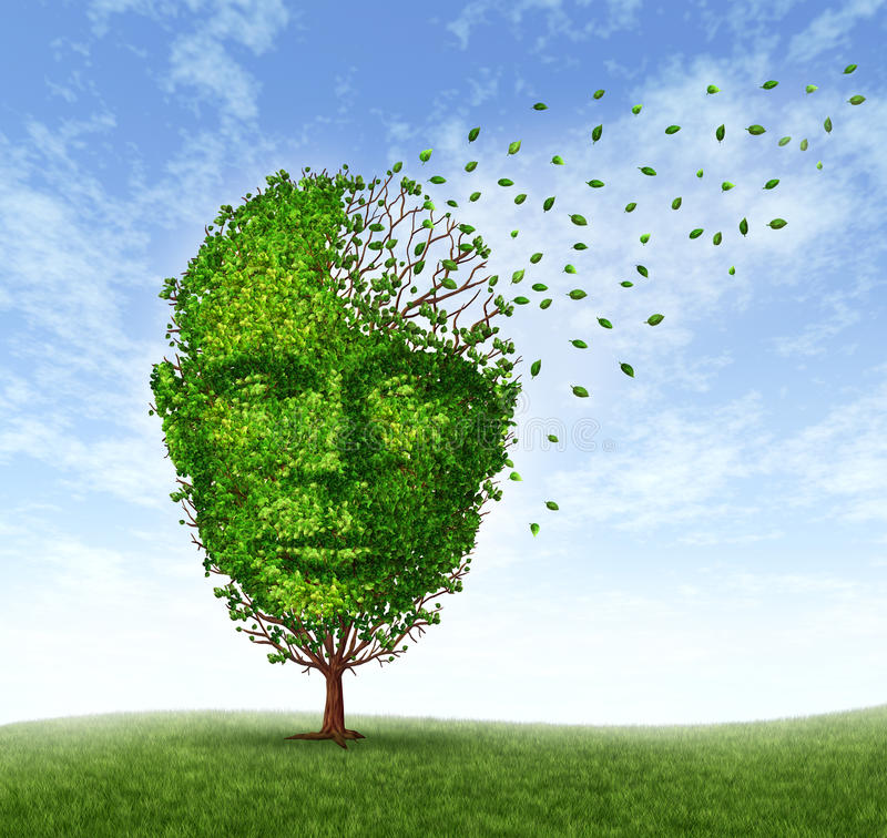 Human Dementia Problems. As memory loss due to age and Alzheimer disease with the medical icon of a tree in the shape of a front face human head and brain vector illustration