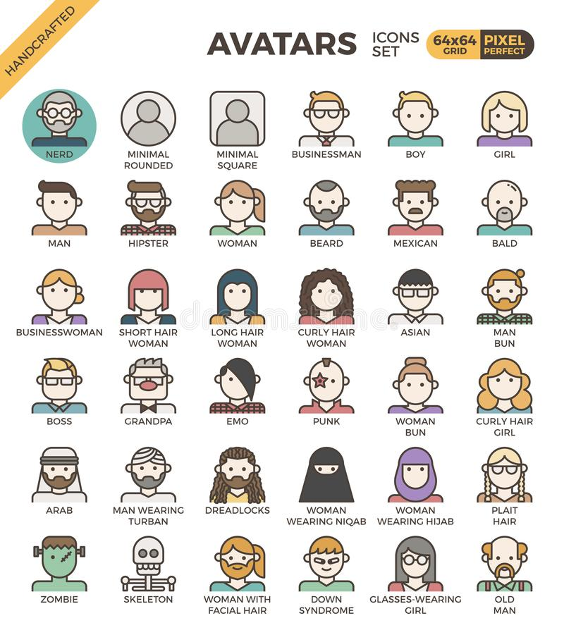 Human diversity avatar icons. Human diversity avatar line icons set in modern line icon style for ui, ux, website, web, app graphic design vector illustration