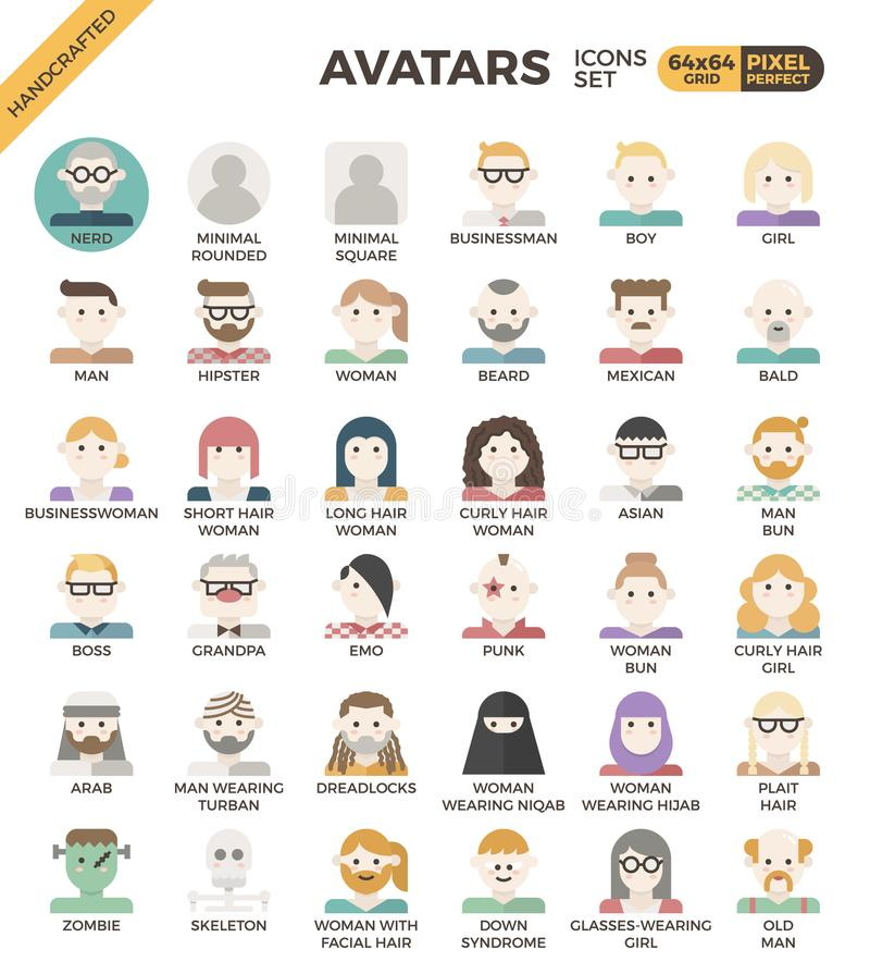 Human diversity avatar icons. Human diversity avatar line icons set in modern line icon style for ui, ux, website, web, app graphic design royalty free illustration