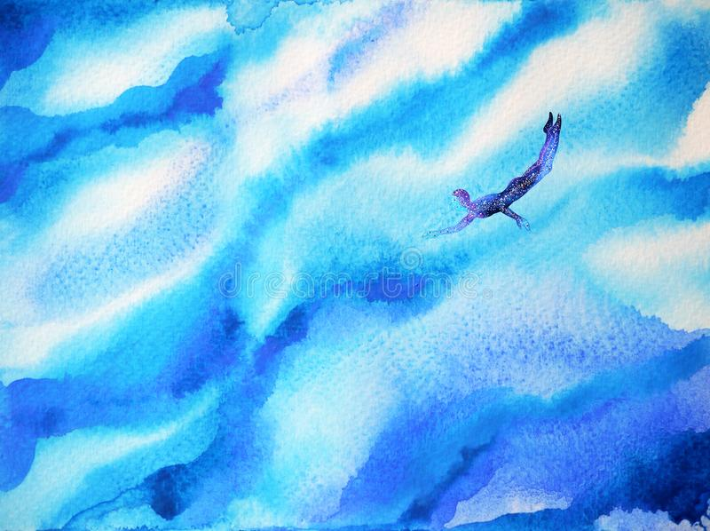 Human diving in abstract deep blue ocean sea, cloud sky of mind, watercolor painting royalty free illustration