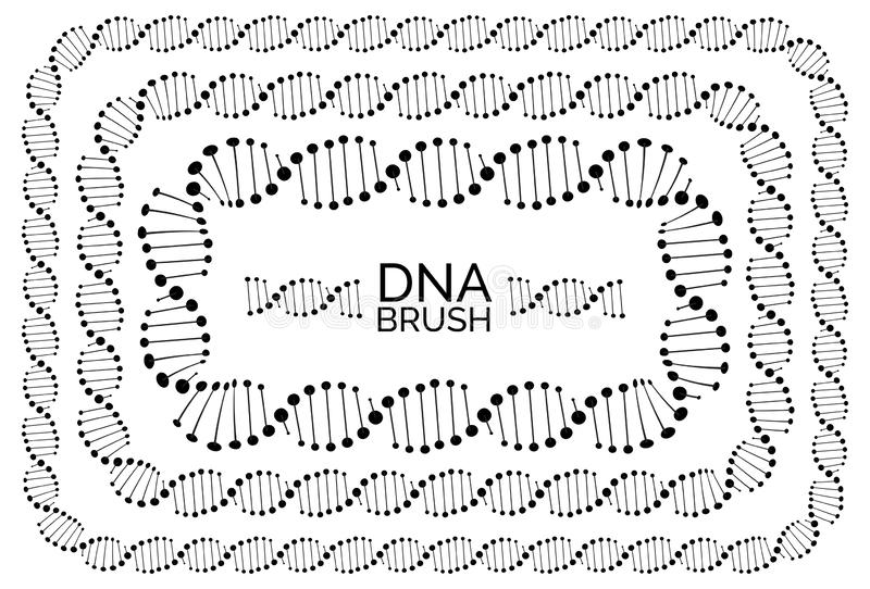 Human dna chain or genome helix molecule rectangular frame. Human dna chain or genome helix isolated. Vector illustration of structural dna molecule rectangular royalty free illustration