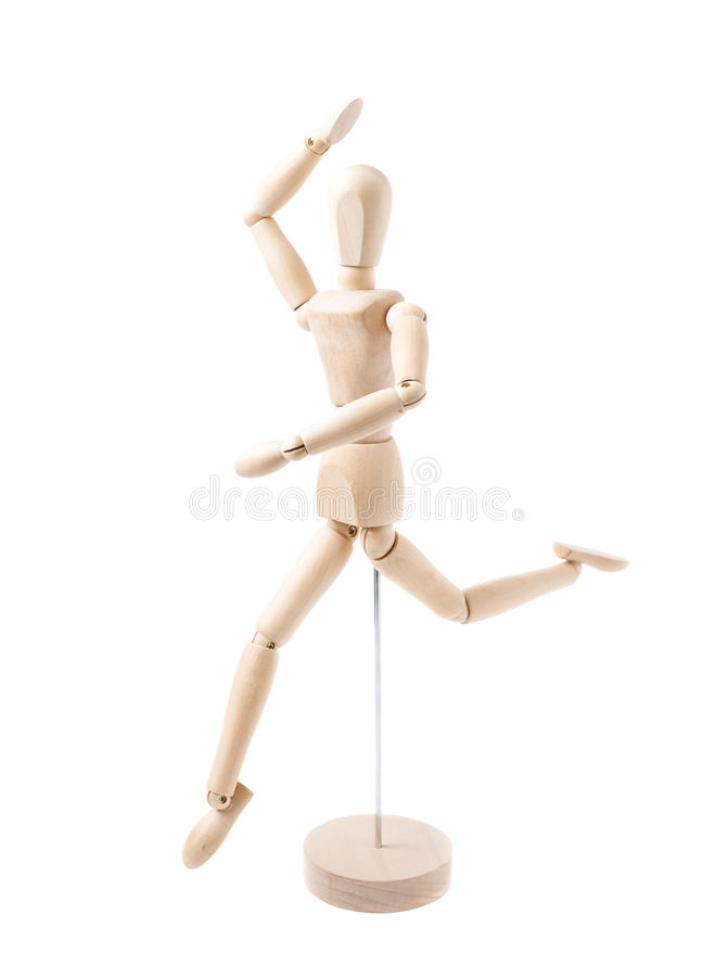 Human doll puppet statuette isolated. Made of wood human doll puppet statuette while dancing, composition isolated over the white background royalty free stock images