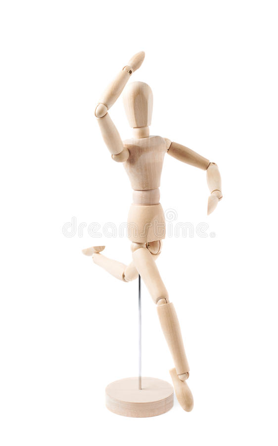 Human doll puppet statuette isolated. Made of wood human doll puppet statuette while dancing, composition isolated over the white background royalty free stock photography