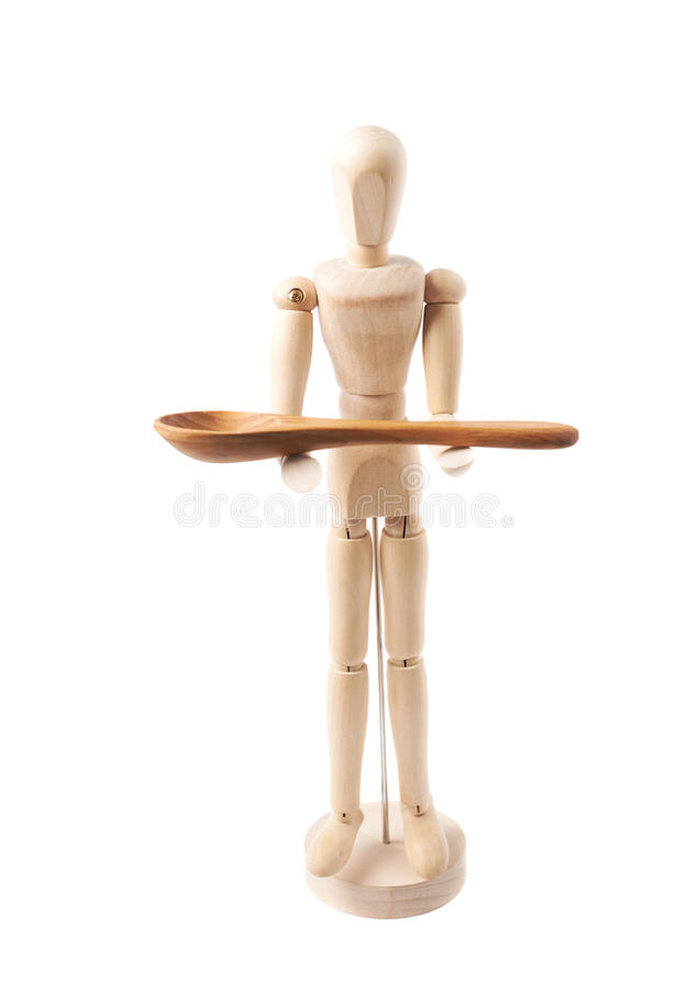 Human doll puppet statuette isolated. Made of wood human doll puppet statuette holding a serving wooden spoon, composition isolated over the white background stock images