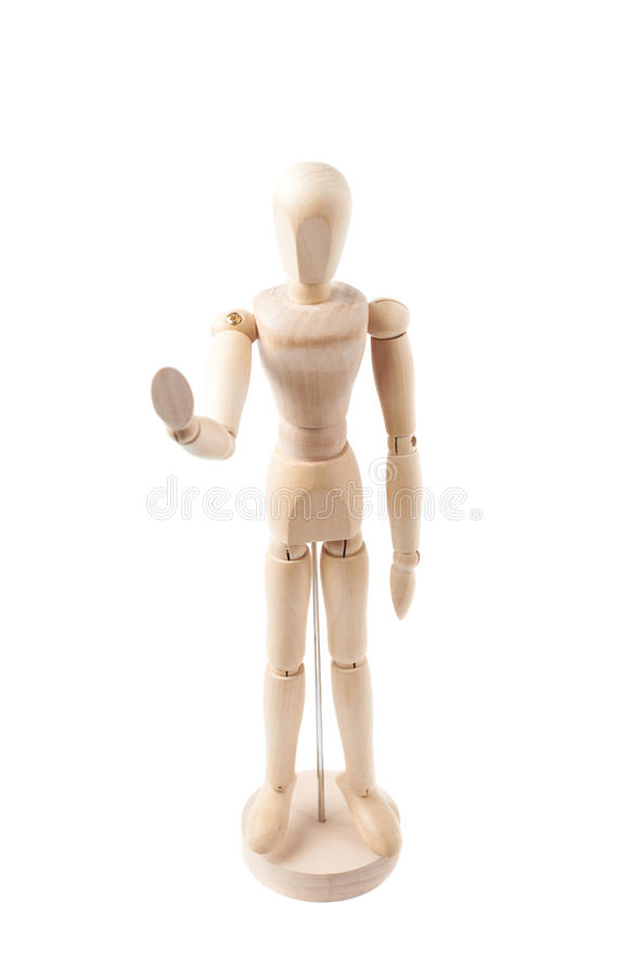 Human doll puppet statuette isolated. Made of wood human doll puppet statuette show a stop sign gesture, composition isolated over the white background stock photo