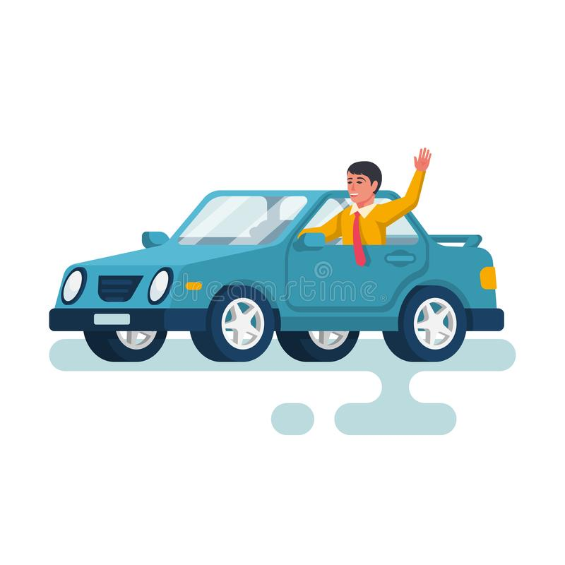 Human driving car. Happy young man waving hand. Vector illustration flat design. Isolated on white background. Cartoon style. Auto goes on the road stock illustration