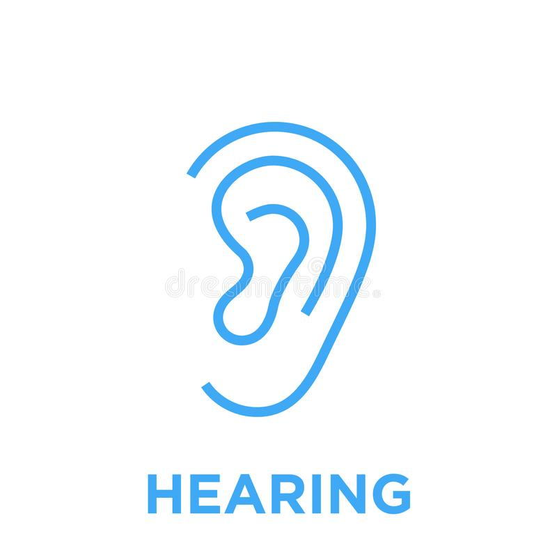 Human ear hearing icon stock illustration