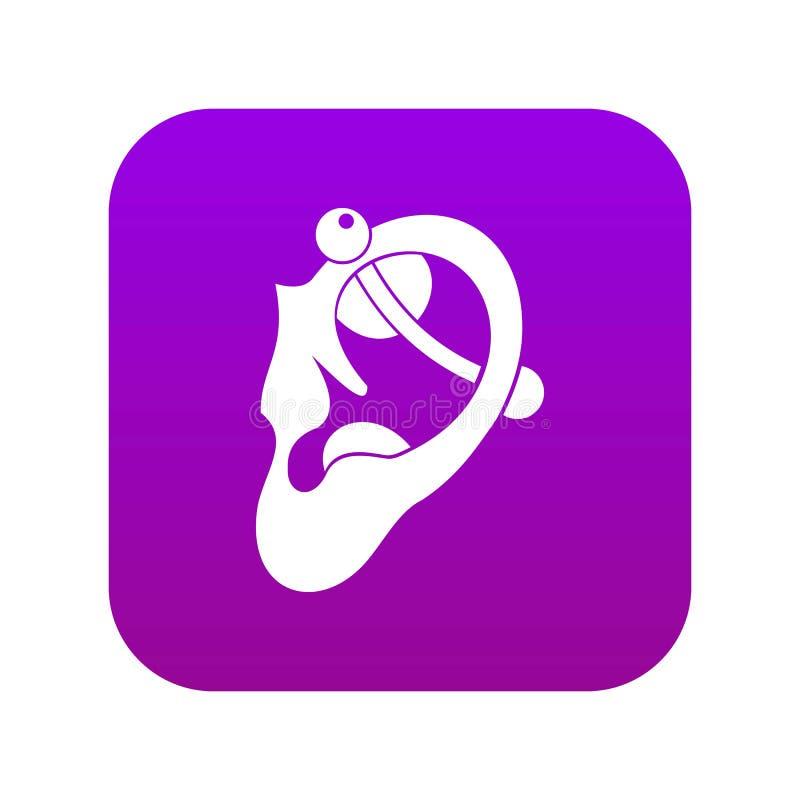 Human ear with piercing icon digital purple vector illustration