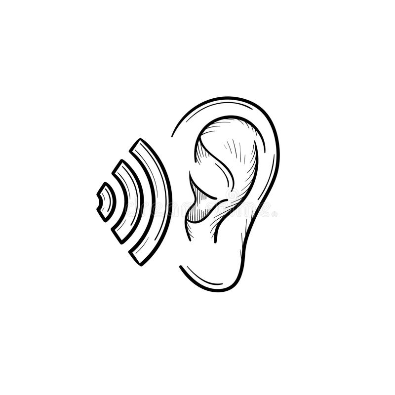 Human ear with sound waves hand drawn outline doodle icon. vector illustration