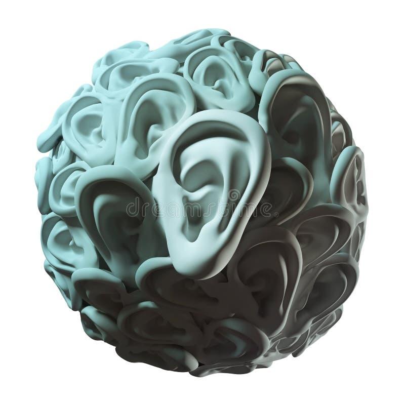 Human ears in ball shape royalty free illustration
