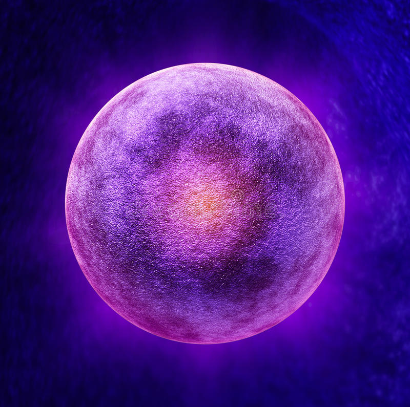 Human Egg Cell. Medical symbol as a three dimensional microscopic reproductive health concept representing a single ova in the ovulation process for stock illustration