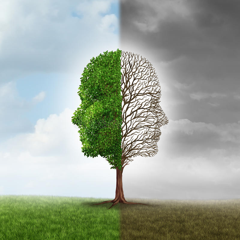 Human Emotion. And mood disorder as a tree shaped as two human faces with one half empty branches and the opposite side full of leaves in the summer as a royalty free illustration