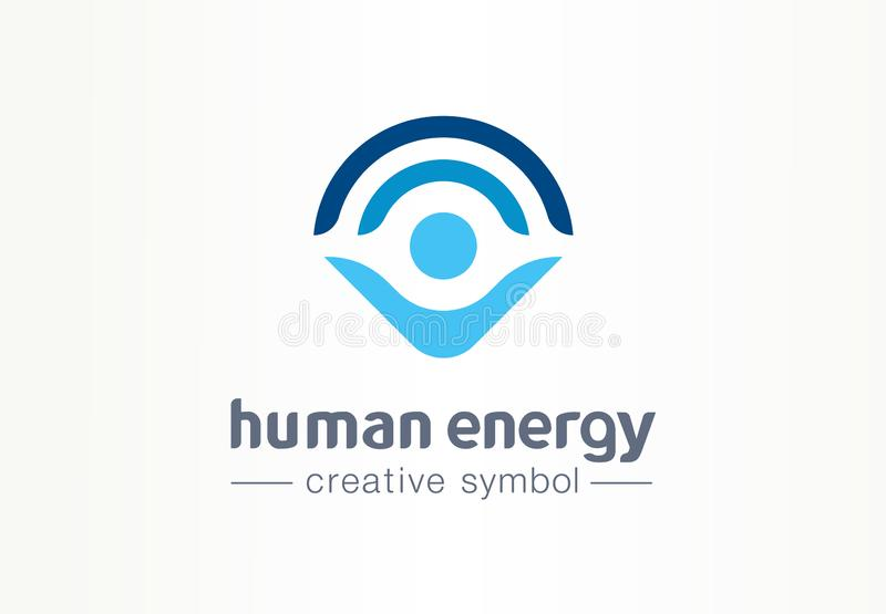 Human energy creative symbol medical concept. Harmony lifestyle abstract business healthcare logo. Person protection. Body power grow wellness icon. Corporate royalty free illustration