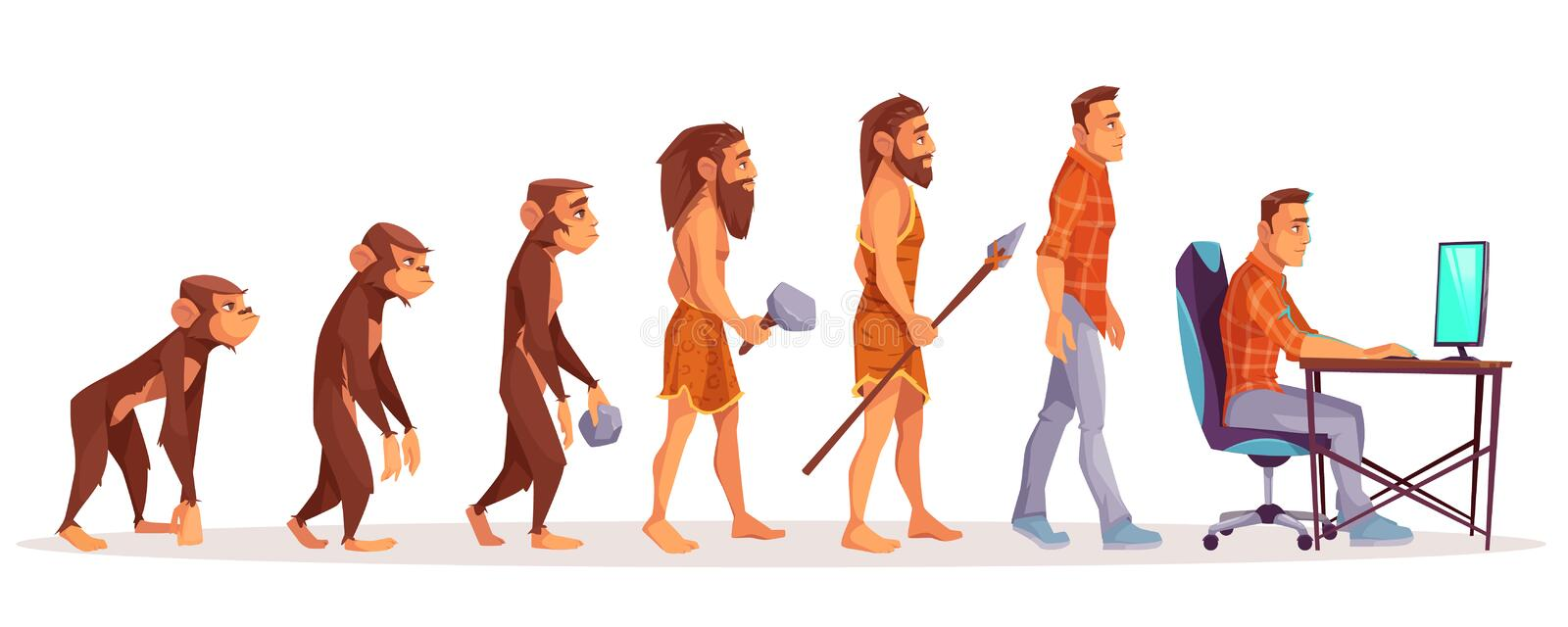 Human evolution from ape to man computer user stock illustration
