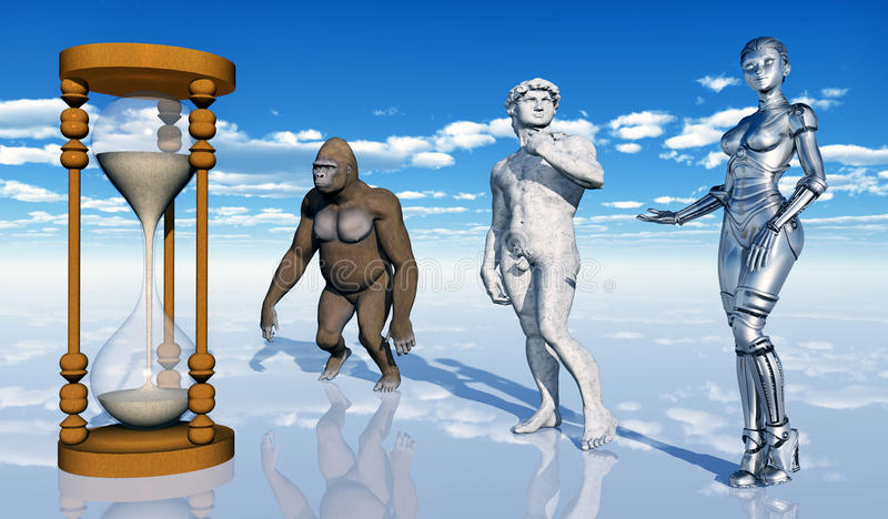 Human evolution. Computer generated 3D illustration with hourglass, gorilla, man and robot vector illustration
