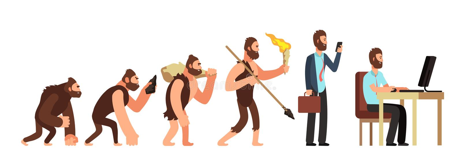Human evolution. From monkey to businessman and computer user. Cartoon vector characters. Evolution human, ape and ancestors illustration vector illustration