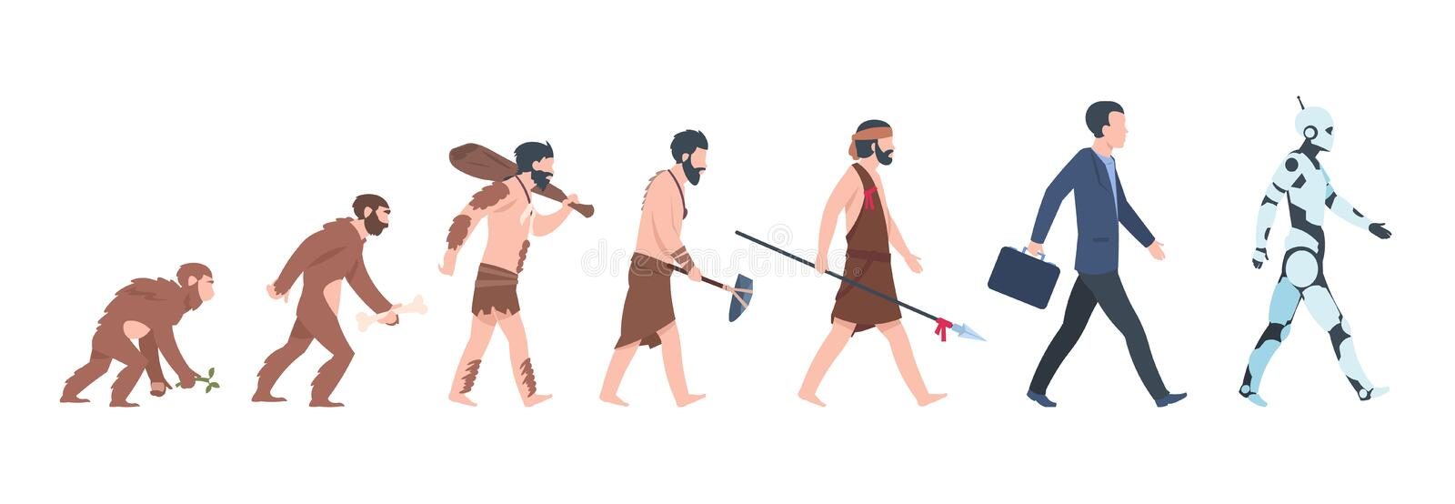 Human evolution. Monkey to businessman and cyborg cartoon concept, from ancient ape to man growth. Vector mankind. Human evolution. Monkey, caveman to stock illustration