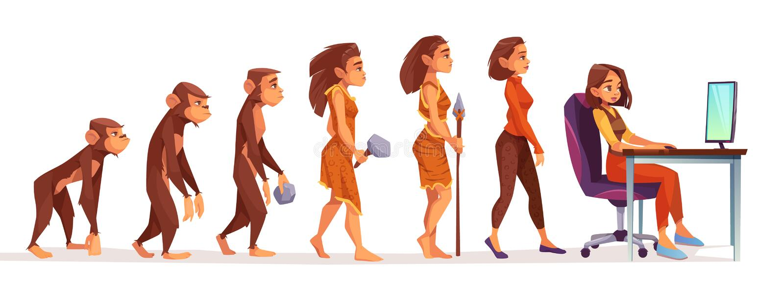 Human evolution from monkey to woman freelancer. Human evolution from monkey to freelancer woman, time line Female character evolve steps from ape to uprights vector illustration