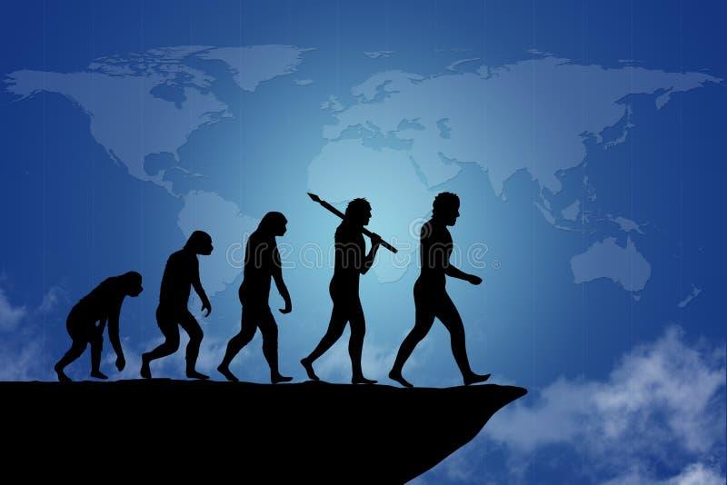 Human evolution. Into the present digital world royalty free illustration