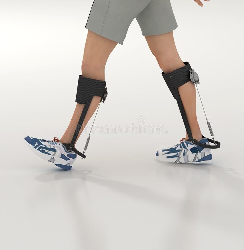 Human exoskeleton. 3d render of a unpowered human exoskeleton stock illustration