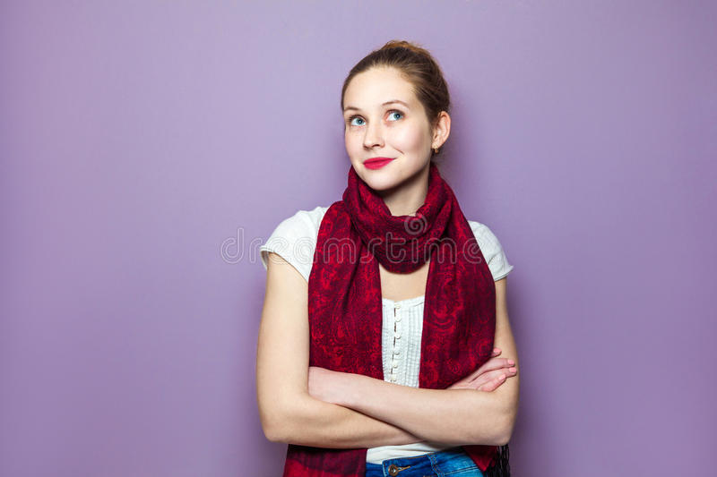 Human expressions emotions feelings body language. Thinking girl. Portrait closeup funny confused skeptical woman girl female thinking trying to recall looking stock photos