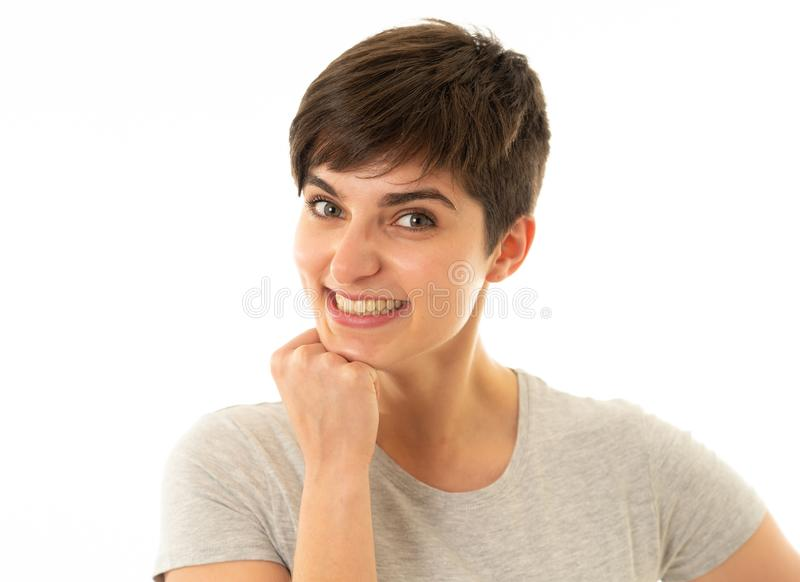 Human expressions and emotions. Portrait of young attractive woman with smiling happy face stock photos