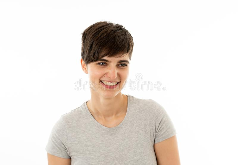 Human expressions and emotions. Young attractive woman looking scared and shocked stock photo