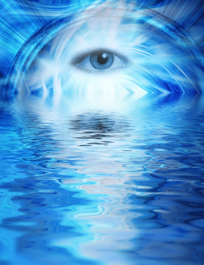 Human eye. On blue abstract background reflected in rendered water vector illustration