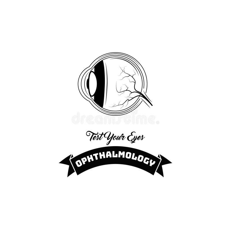 Human eye anatomy. Ophthalmology logo label emblem. Test your eyes lettering. Eye icon. Vector. Human eye anatomy. Ophthalmology logo label emblem. Test your stock illustration