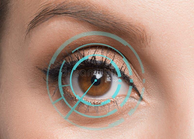 Human eye close up. Retina identification concept. Digital id concept stock images