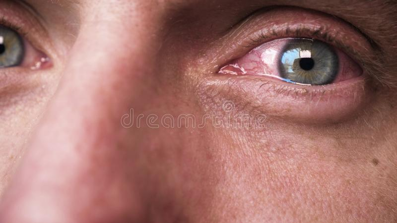 The human eye is depicted very closely with the brown hazel color of the movement of the eye and blink. Concept of: Hazel, Close. To the eye, Man, Woman stock photography