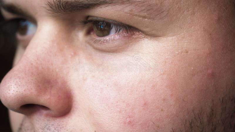The human eye is depicted very closely with the brown hazel color of the movement of the eye and blink. Concept of: Hazel, Close. To the eye, Man, Woman royalty free stock image
